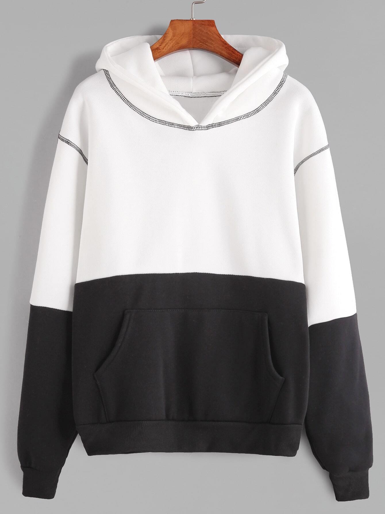 Black And White Hooded Pocket SweatshirtFor Women-romwe