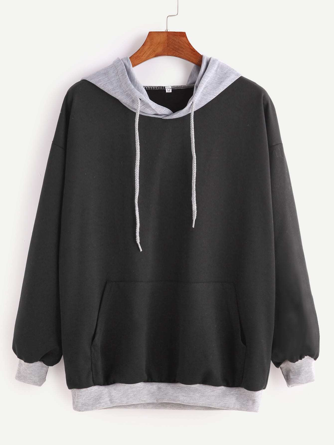 Black Contrast Drop Shoulder Drawstring Hooded Pocket Sweatshirt