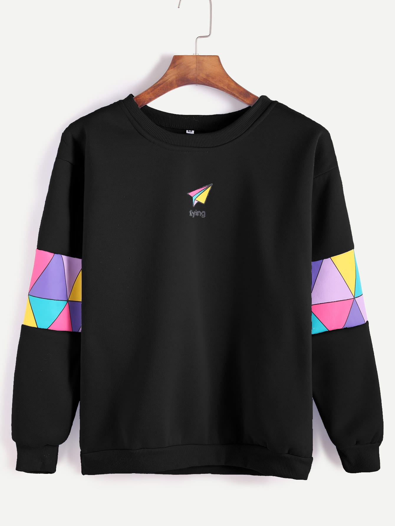 Black Paper Airplane Print Patchwork Trim Sweatshirtfor Women Romwe