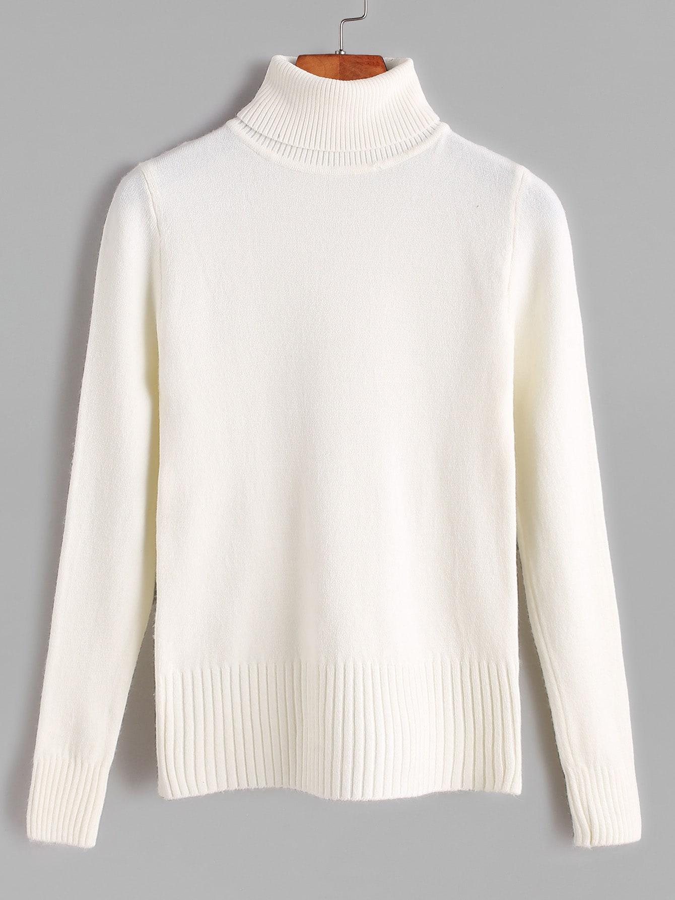 Beige Turtleneck Ribbed Trim Sweater