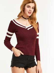 Burgundy Striped Trim Double V Neck Ribbed Knitwear