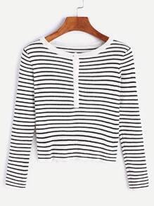 Suéter corto de rayas con botones - blanco