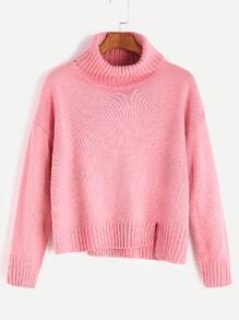 Pink Roll Neck Drop Shoulder Asymmetric Hem Sweater
