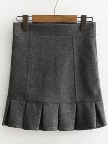 Grey Ruffle Hem Cute Skirt