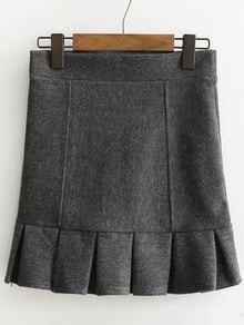 Grey Ruffle Hem Cute Skirt
