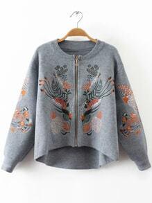 Manteau en laine broderie zippé asymétrique -gris