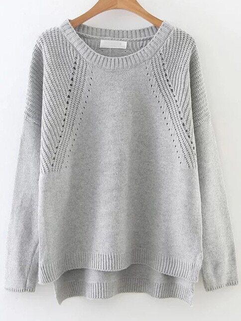 Grey Hollow Out Drop Shoulder Dip Hem Sweater