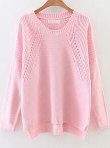 Pink Hollow Out Drop Shoulder Dip Hem Sweater