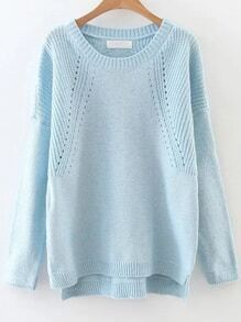 Blue Hollow Out Drop Shoulder Dip Hem Sweater