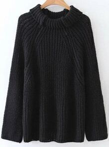 Jersey de manga raglán con cuello vuelto - negro