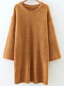 Ginger Round Neck Drop Shoulder Sweater Dress
