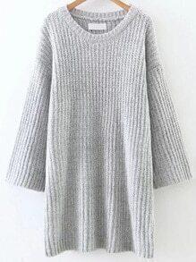 Light Grey Round Neck Drop Shoulder Sweater Dress