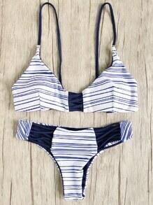 Blue Striped Strappy Bikini Set