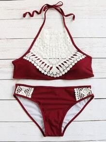 Burgundy Crochet Detail Vintage Bikini Set