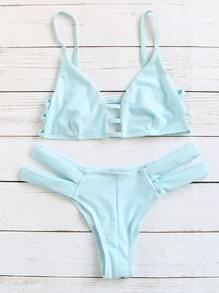 Sexy Bikini Set Cut-Outs-blau