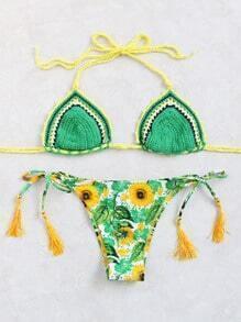 Sets de bikini con estampado de girasol con top de tejido - verde