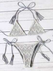 Grey Triangle Tie Side Lace Bikini Set