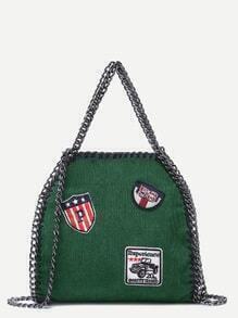 Green Corduroy Chain Trim Badge Shoulder Bag