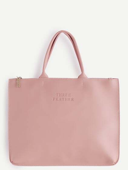 Oversized Pink PU Plain Tote Bag