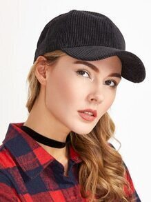 Black Corduroy Warm Baseball Cap