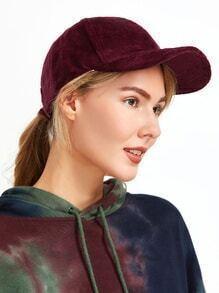 Burgundy Velvet Baseball Cap
