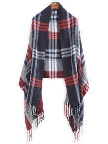 Plaid Long Fringe Shawl Scarf