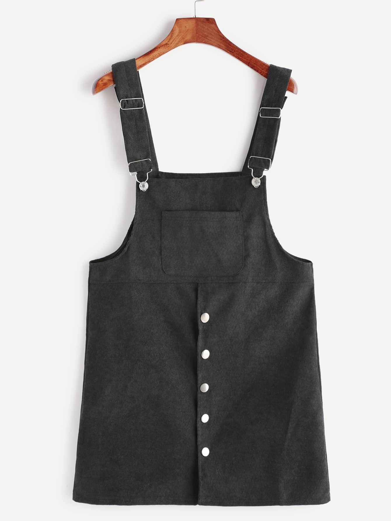 Black Corduroy Single Breasted Overall Dress With Pocket