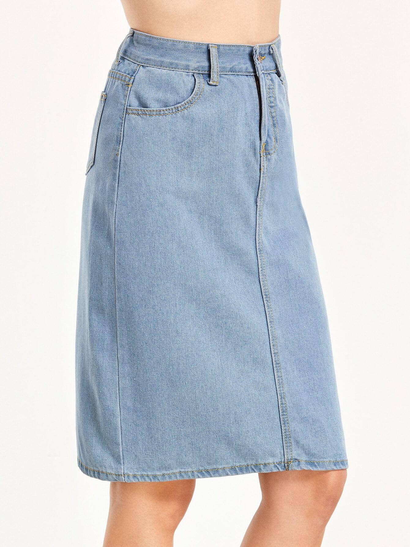 light blue pockets denim skirt