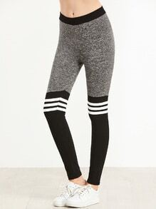 Contrast Striped Trim Skinny Leggings
