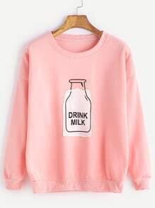 Sudadera con estampado de botella de leche con hombro caído - rosa
