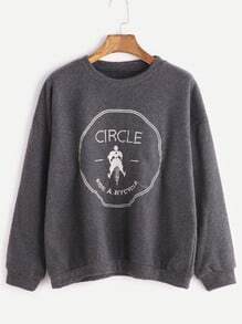 Buy Grey Dropped Shoulder Seam Embroidered Sweatshirt