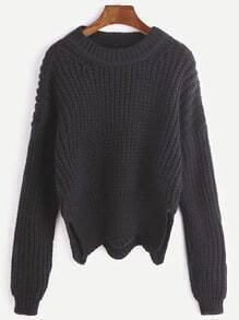 Black Dropped Shoulder Seam Slit Side Wave Hem Sweater