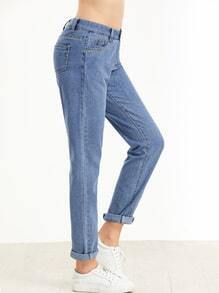 Blue Rolled Hem Ankle Jeans