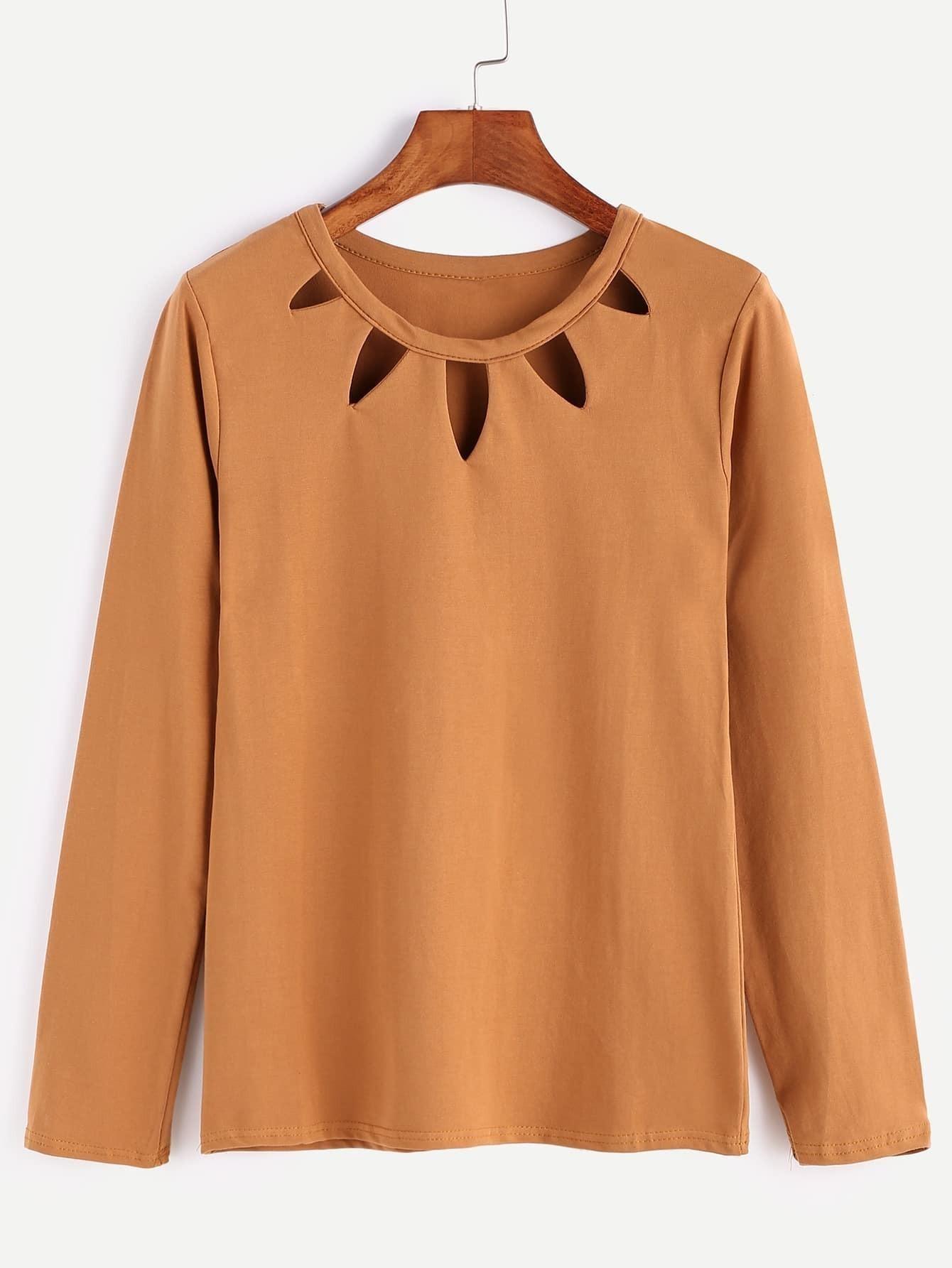 Khaki Cut Out Front Long Sleeve T Shirtfor Women Romwe