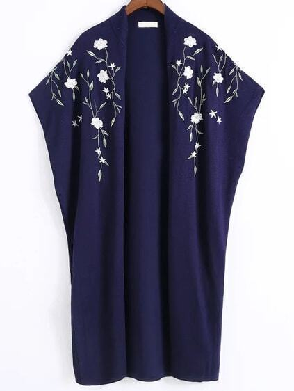 Pull poncho brodé floral -marine