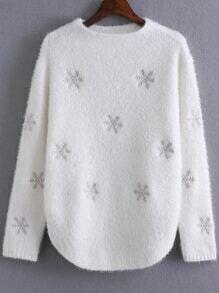 Jersey con estampado de copo de nieve - blanco