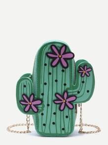 Green Cactus Shaped Crossbody Chain Bag