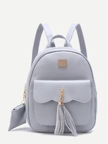 Grey Embellished Pocket Front PU Backpack