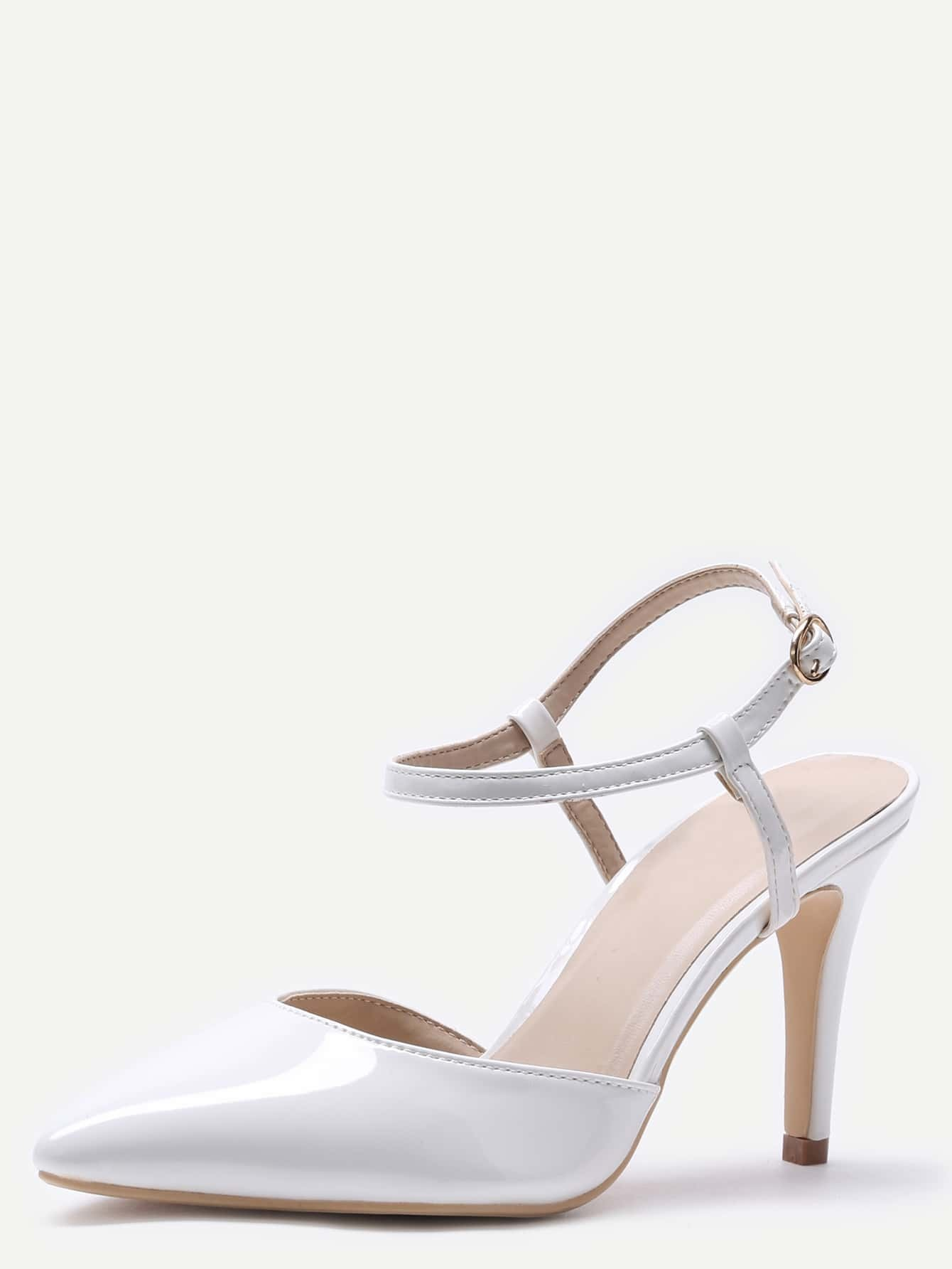 White Pointed Toe Slingback Ankle Strap Pumpsfor Women Romwe