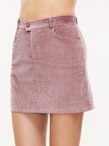 Pink Corduroy Pocket Bodycon Skirt