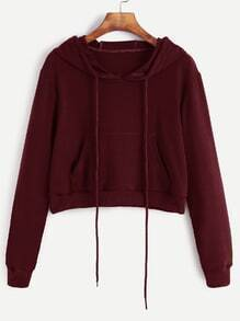 Burgundy Drawstring Hooded Crop Sweatshirt With Pocket