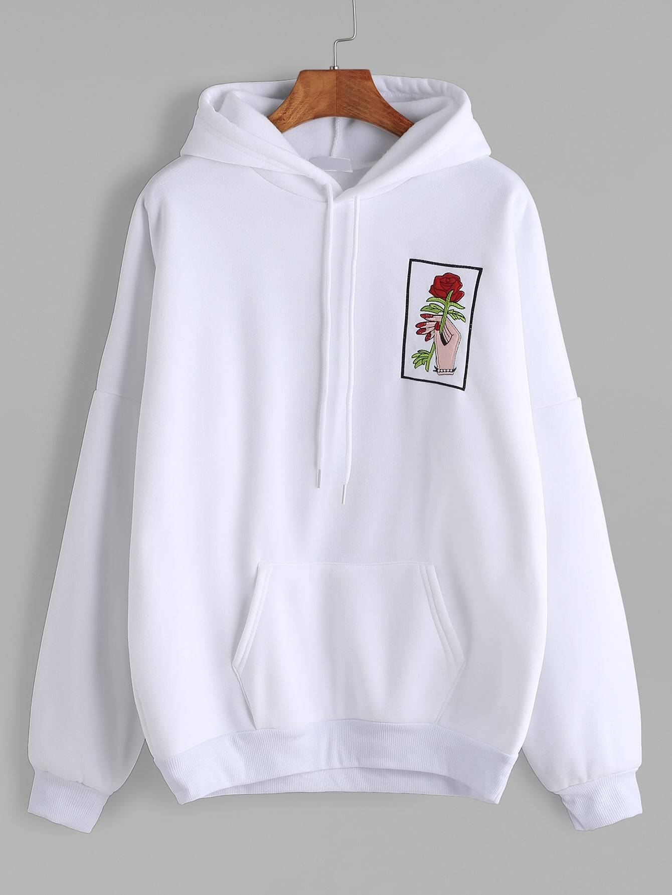White drop shoulder hand rose embroidery hooded pocket