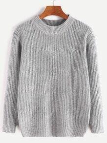 Pale Grey Long Sleeve Basic Sweater