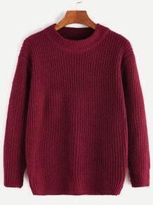 Burgundy Long Sleeve Basic Sweater