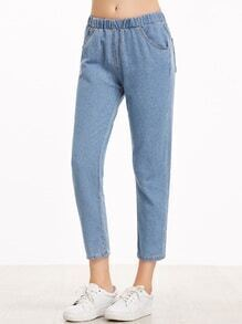 Light Blue Elastic Waist Pocket Jeans