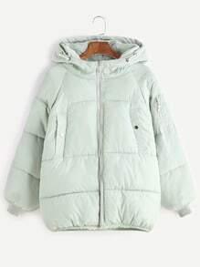 Abrigo acolchado de manga raglán con detalle de cremallera - verde claro