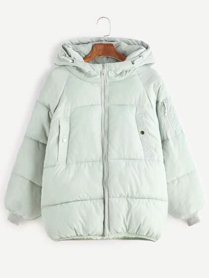 Pale Green Raglan Sleeve Zip Detail Hooded Padded Coat