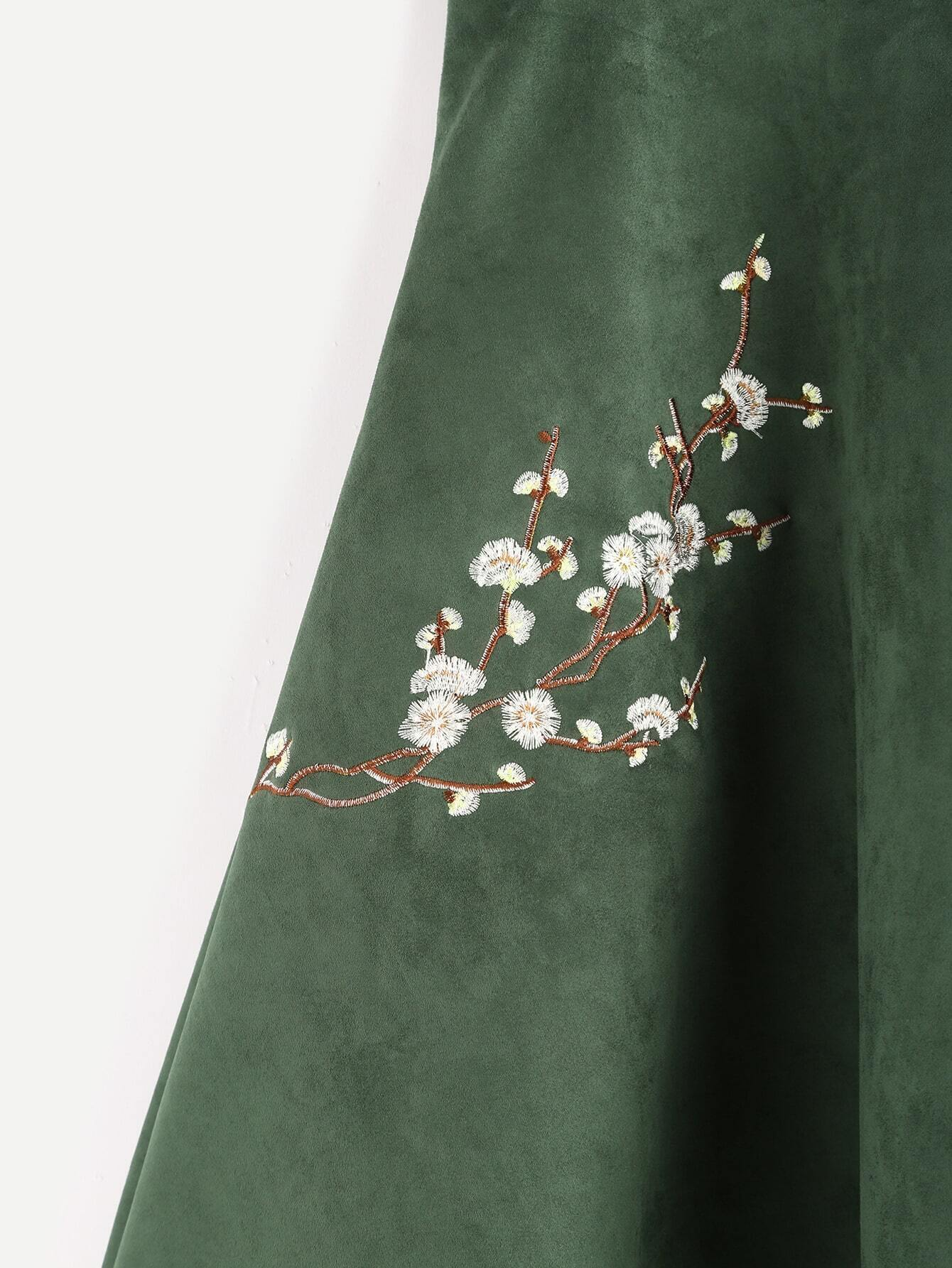 A jupe brod floral en suede vert d 39 arm e french romwe for Acheter maison suede