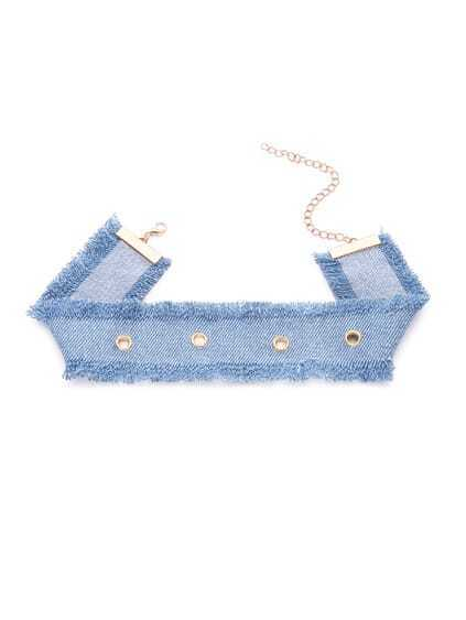 Blue Eyelet Denim Eyelash Fringe Wide Choker