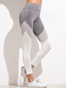 Leggings à rayure large couleur bloc - tricolore
